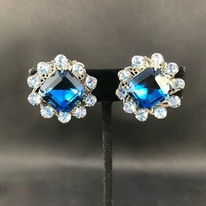Vintage two tone blue clip earrings